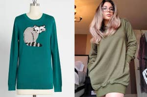 On the left, a sweater with a raccoon on it. On the right, a reviewer in an oversized hoodie dress