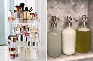 split thumbnail of spinning makeup organizer, large soap pumps in shower