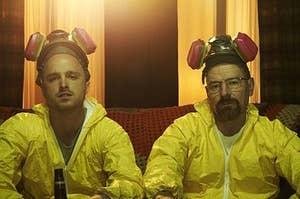 Jesse and Walt wearing yellow hazmat suits