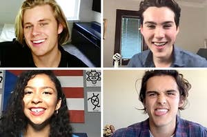 "The cast of ""Julie and the Phantoms"" playing Who's Who via Zoom."