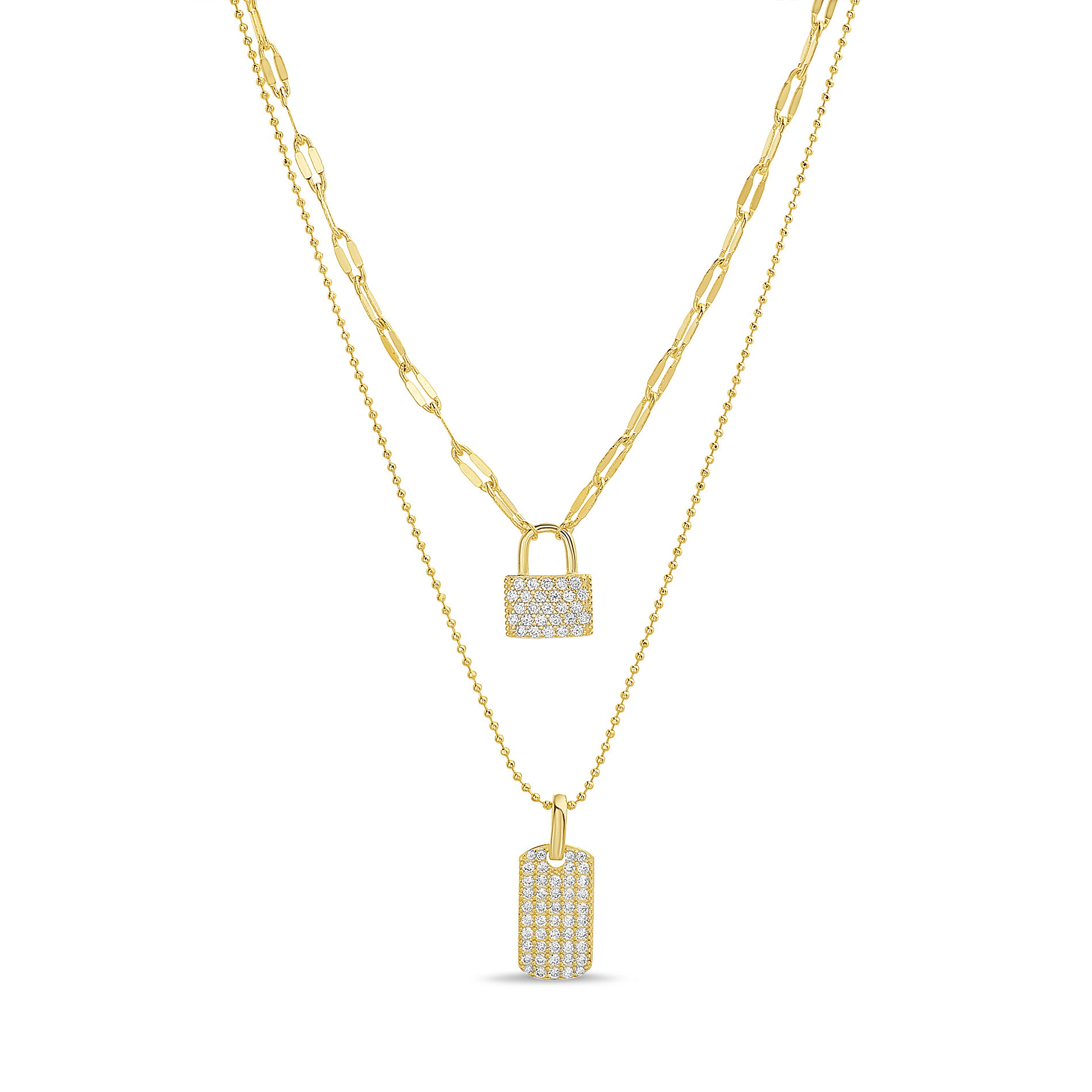 The sparkly layered necklace with lock charms