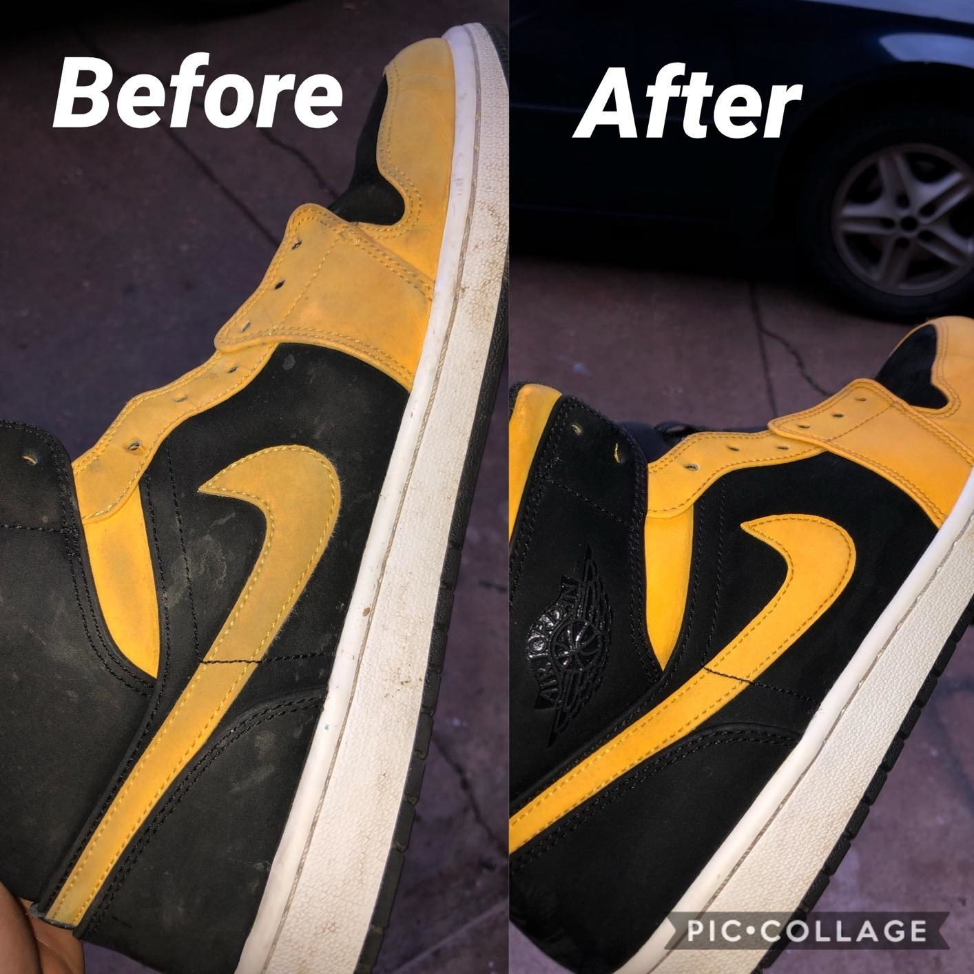 Reviewer's before and after photo of black and yellow Nike sneakers