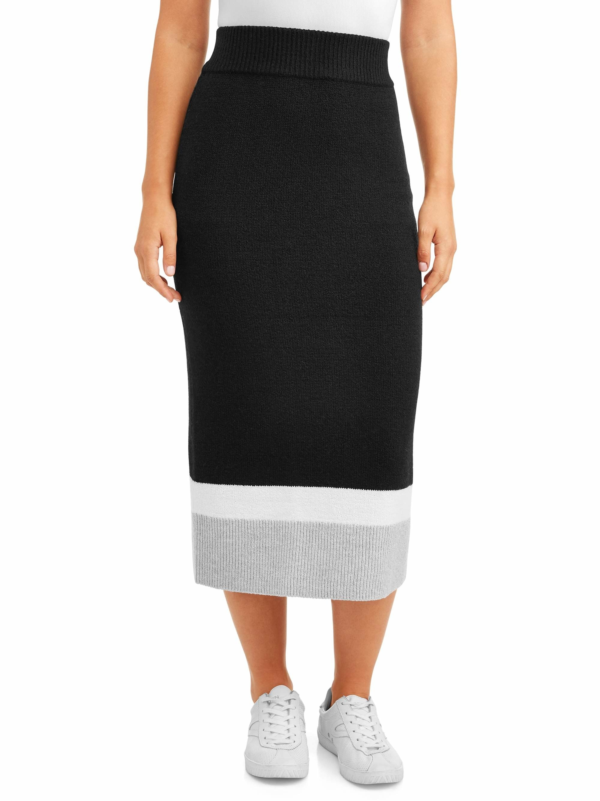 Model wears the striped skirt