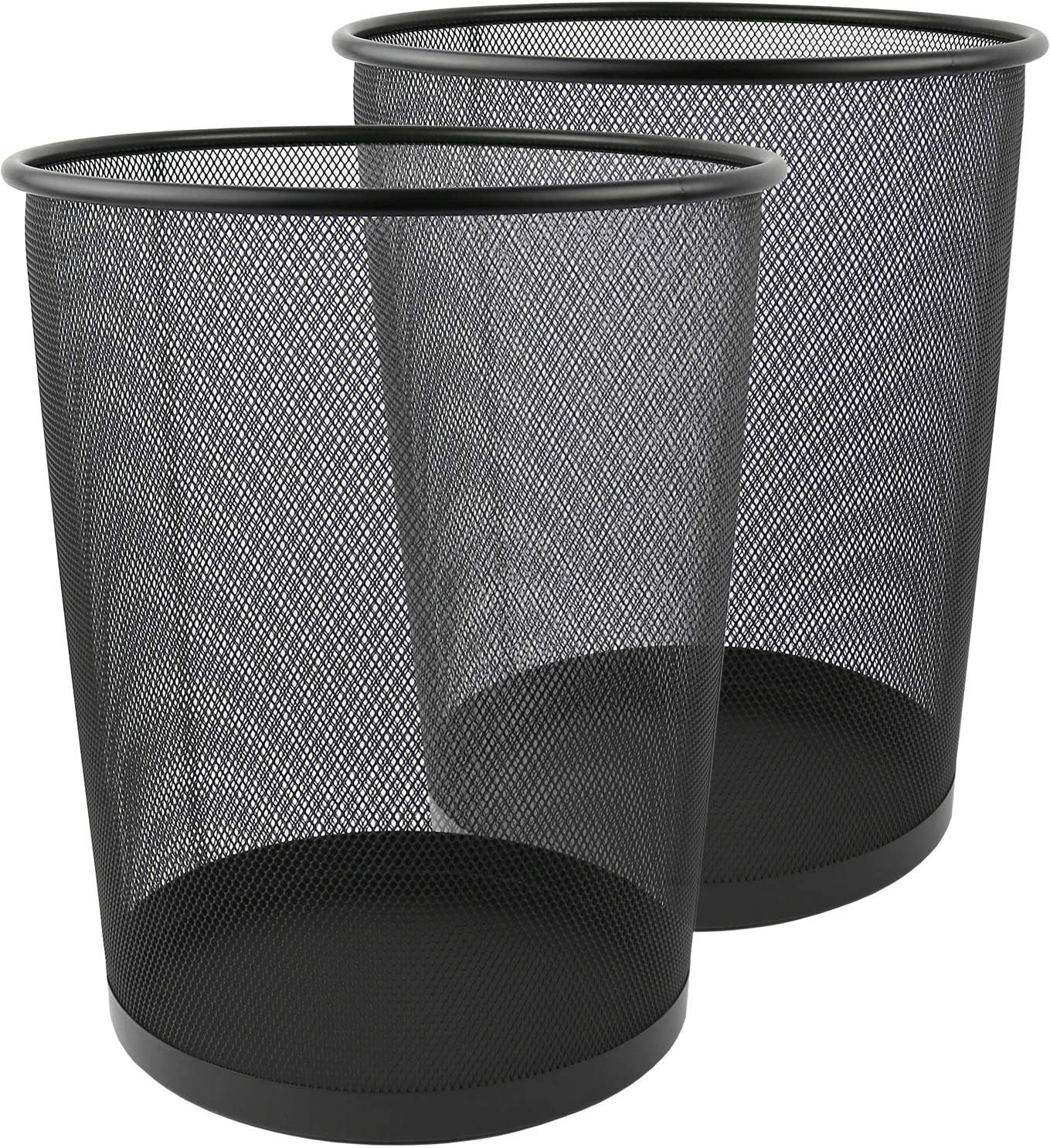 Two black 6 gallon Greenco GRC2708 Round Mesh Wastebasket Trash Cans
