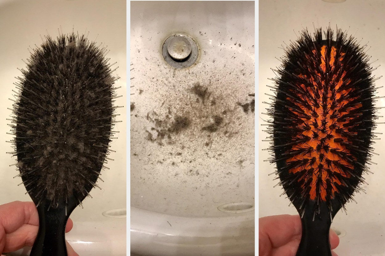A reviewer's photos of a dirty hairbrush, the removed debris, and a now clean hairbrush