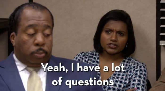 """Kelly from """"The Office"""" yelling at Ryan during a meeting that she has a lot of questions to ask him"""