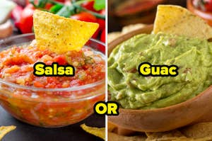 salsa with a tortilla chip in it and guacamole with a tortilla chip in it