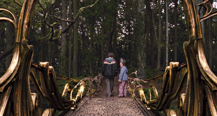 May Belle glancing at the bridge to Terabithia being transformed by their imagination