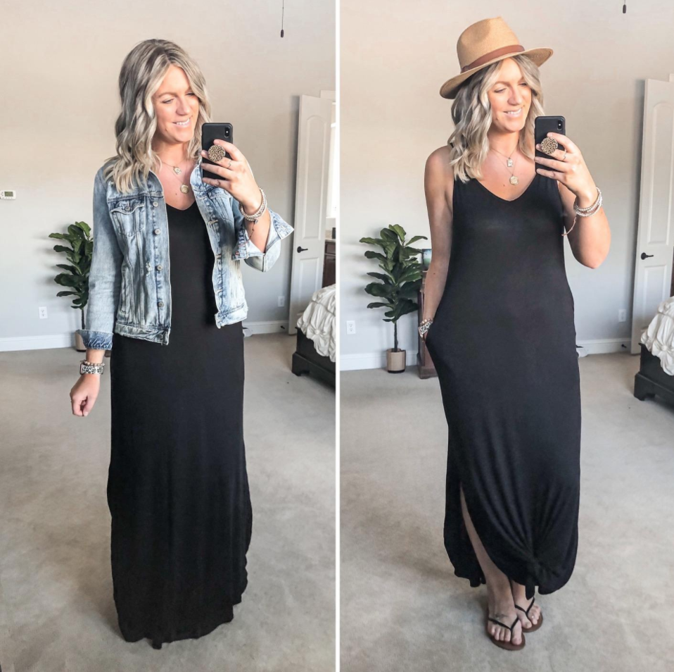 A reviewer wears the black v-neck maxi dress with a denim jacket over it, then without a jacket and has the front end of the dress tied in a knot above her ankles