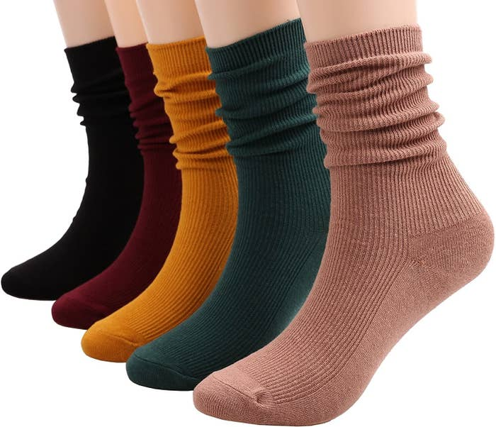 Crew socks in beige, dark green, mustard, burgundy, and black