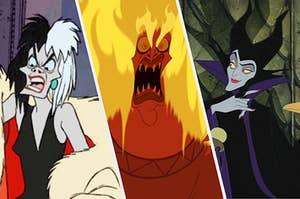 Cruella De Ville, Hades, and Maleficent all being super evil