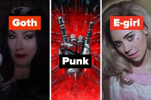 """Morticia from Addams Family Values labeled """"goth,"""" a metal hand with the index and pinkie fingers up labeled """"punk,"""" and Marina in the Primadonna music video labeled """"e-girl"""""""