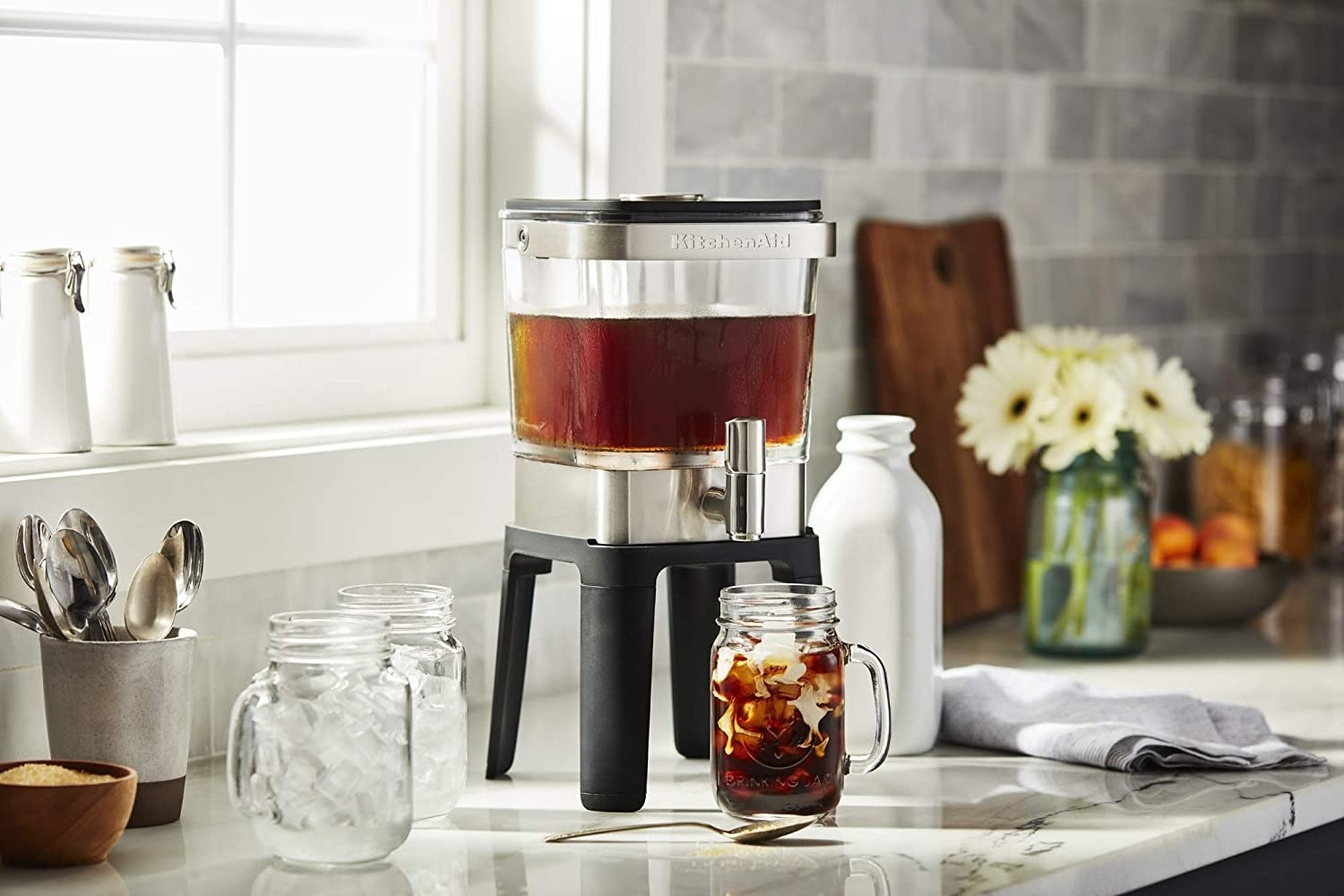 Cold brew maker sitting on kitchen counter