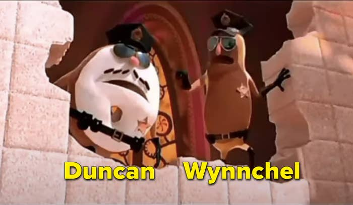 Two donuts as police officers in the animated film