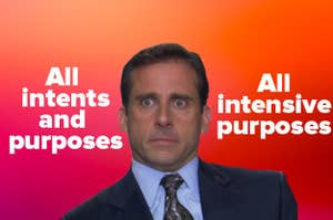 """Michael Scott trying to figure out if it """"all intents and purposes"""" or """"all intensive purposes"""""""