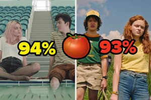 An image of the TV show Sex Education with a Rotten Tomatoes rating of 94 percent next to an image of Stranger Things with a Rotten Tomatoes rating of 93 percent