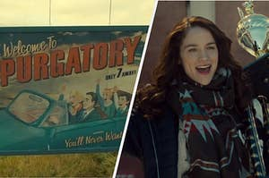 A sign that says welcome to purgatory on the left, and wynonna holding a trophy on the right