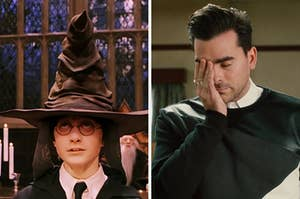 """On the left, Harry wears the Sorting Hat in """"Harry Potter and the Sorcerer's Stone,"""" and on the right, Dn Levy as David on """"Schitt's Creek"""""""