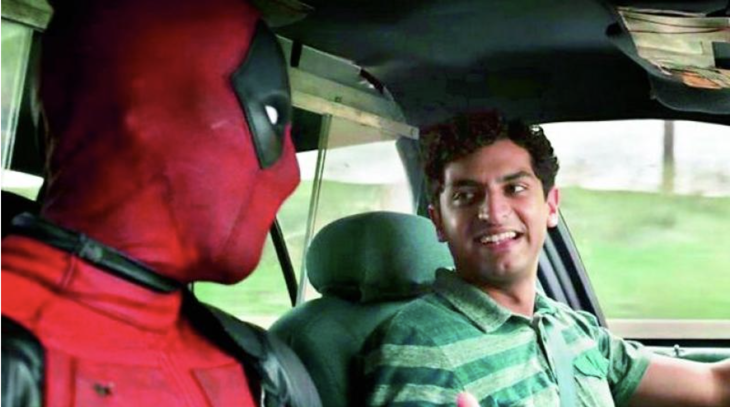 A friendly-looking cabbie drives Deadpool