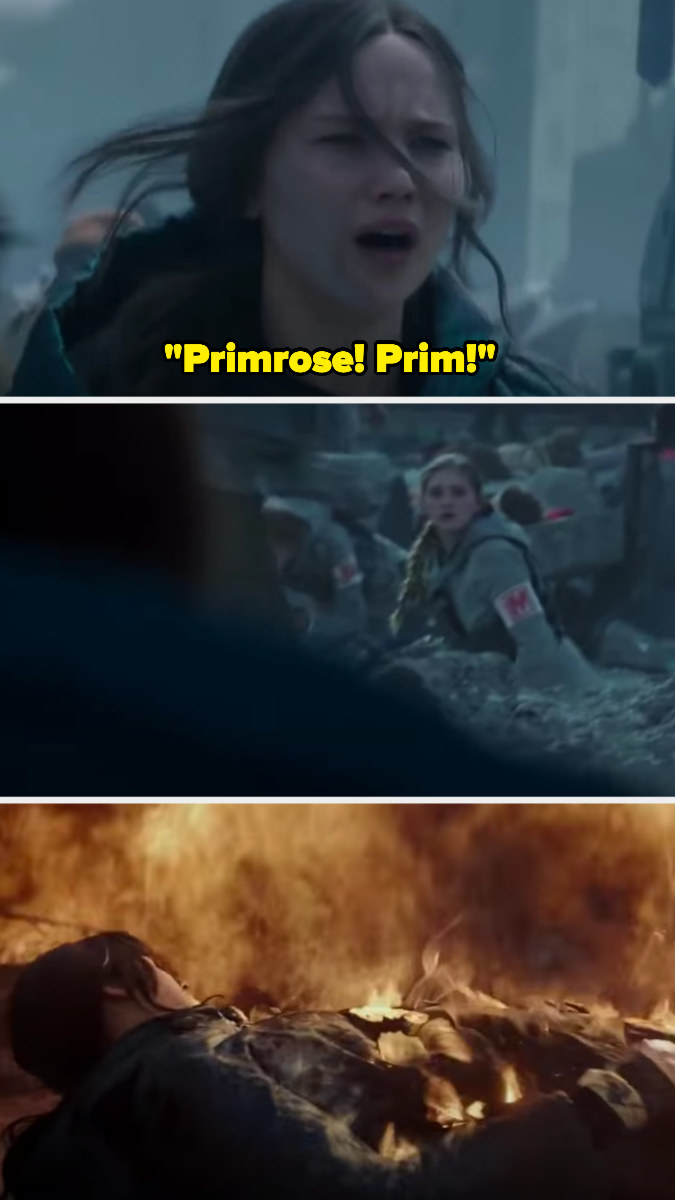 Katniss yelling her sister's name, and the explosion going off