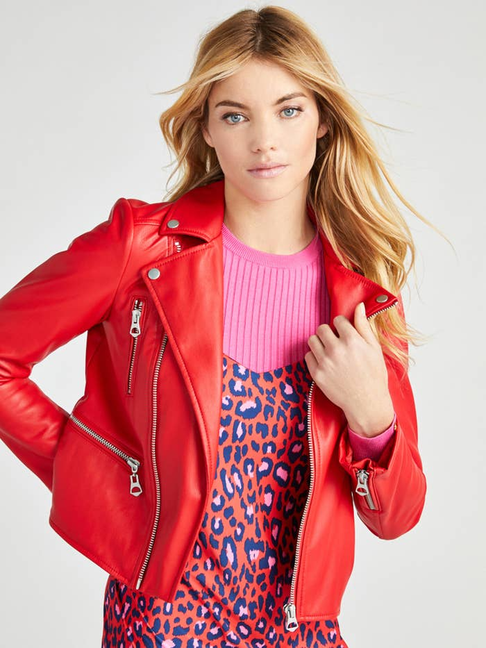 Model wearing the red jacket