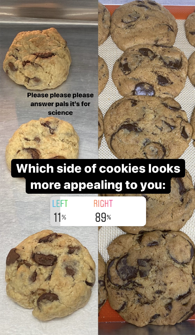 Instagram poll results: 89% prefer how the fancier cookies look