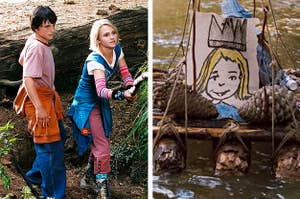 """Side by side of Jess and Leslie from """"Bridge To Terabithia"""" in the woods and a funeral wreath with a drawing of Leslie's face"""