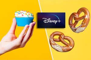 The disney plus logo between a cupcake and a pretzel