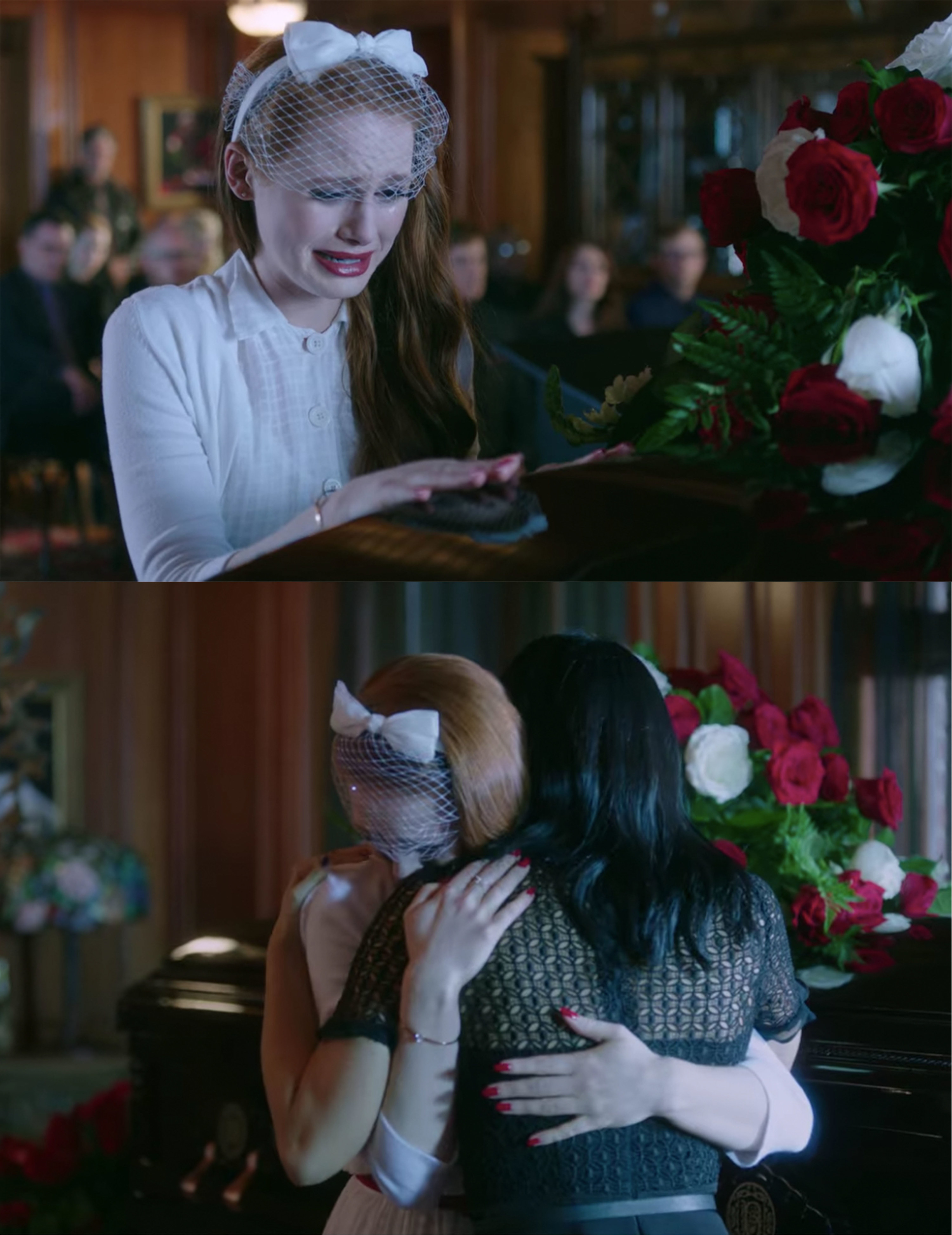 Veronica hugs Cheryl and comforts her at Jason's funeral