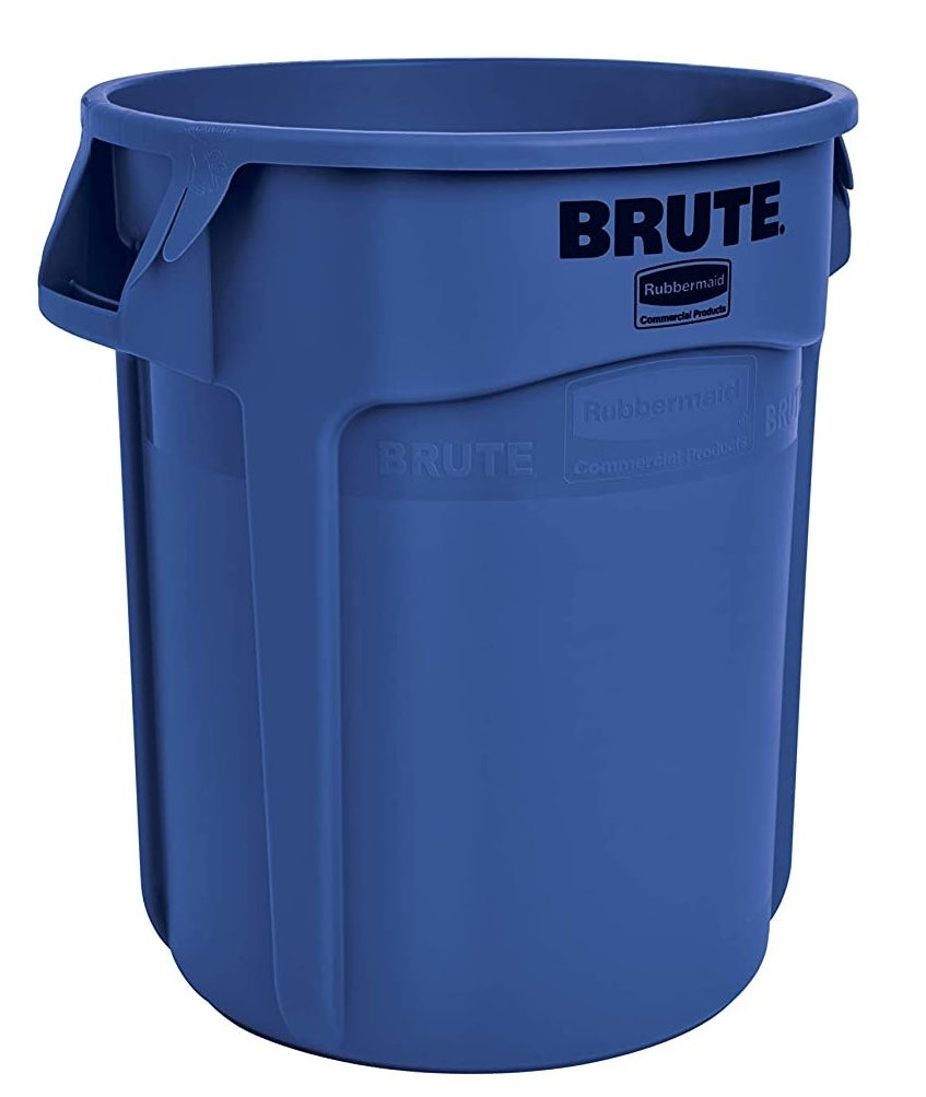 The blue Rubbermaid Commercial Heavy-Duty Round Trash Can