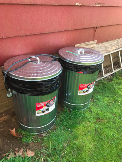 Two 31-gallon Behrens Galvanized Steel Trash Cans in a customer's back yard