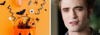 Edward from Twilight looks confused next to an image of candy coming out of a pumpkin bucket