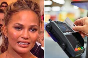 (left) Chrissy Teigen reaction meme where she is grimacing with a tear in her eye; (right) a hand swipes a credit card through a machine
