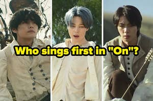 """Images of Jin Jimin and V from BTS with the question """"who sings first in the song On"""" written below their faces"""