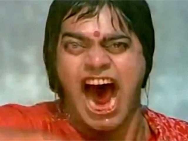 In a still from the movie Dushman, Ashutosh Rana screams into the camera