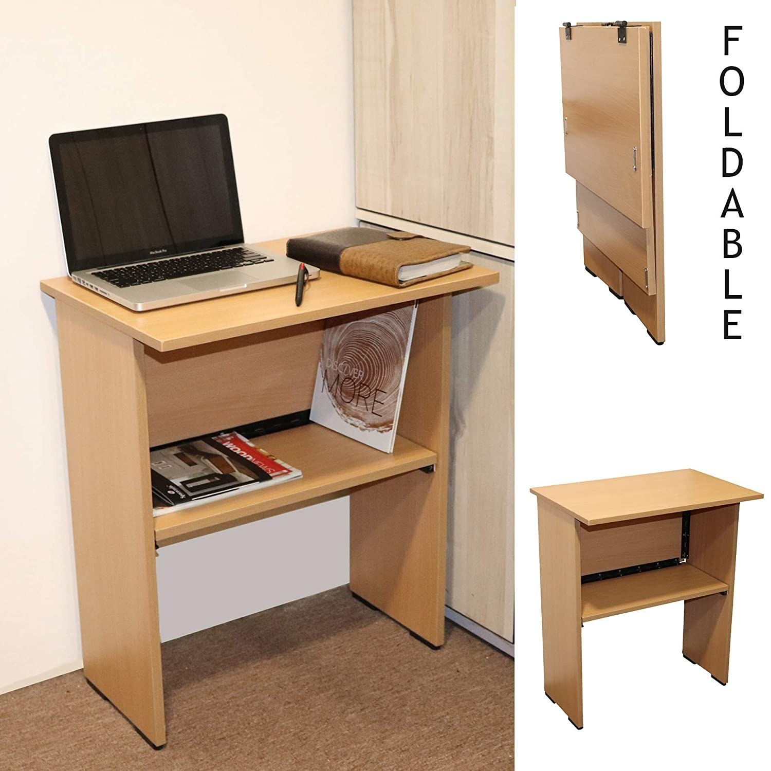 A wooden desk with storage space and a laptop