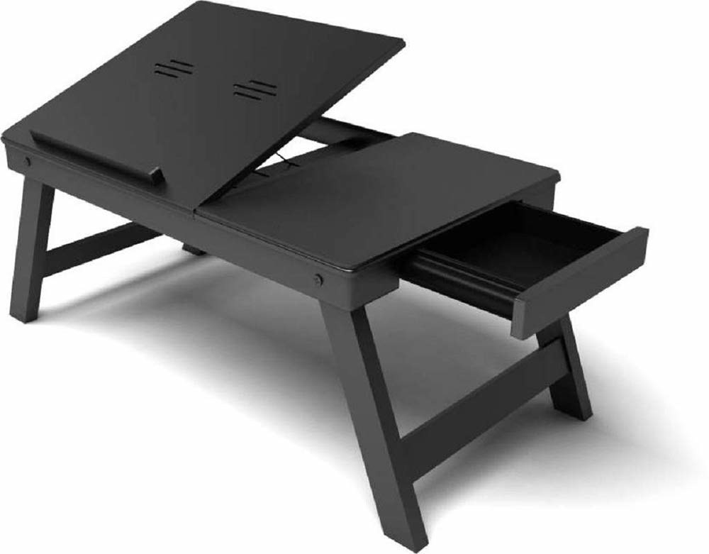 A black laptop desk with a drawer sliding out and an angled laptop stand