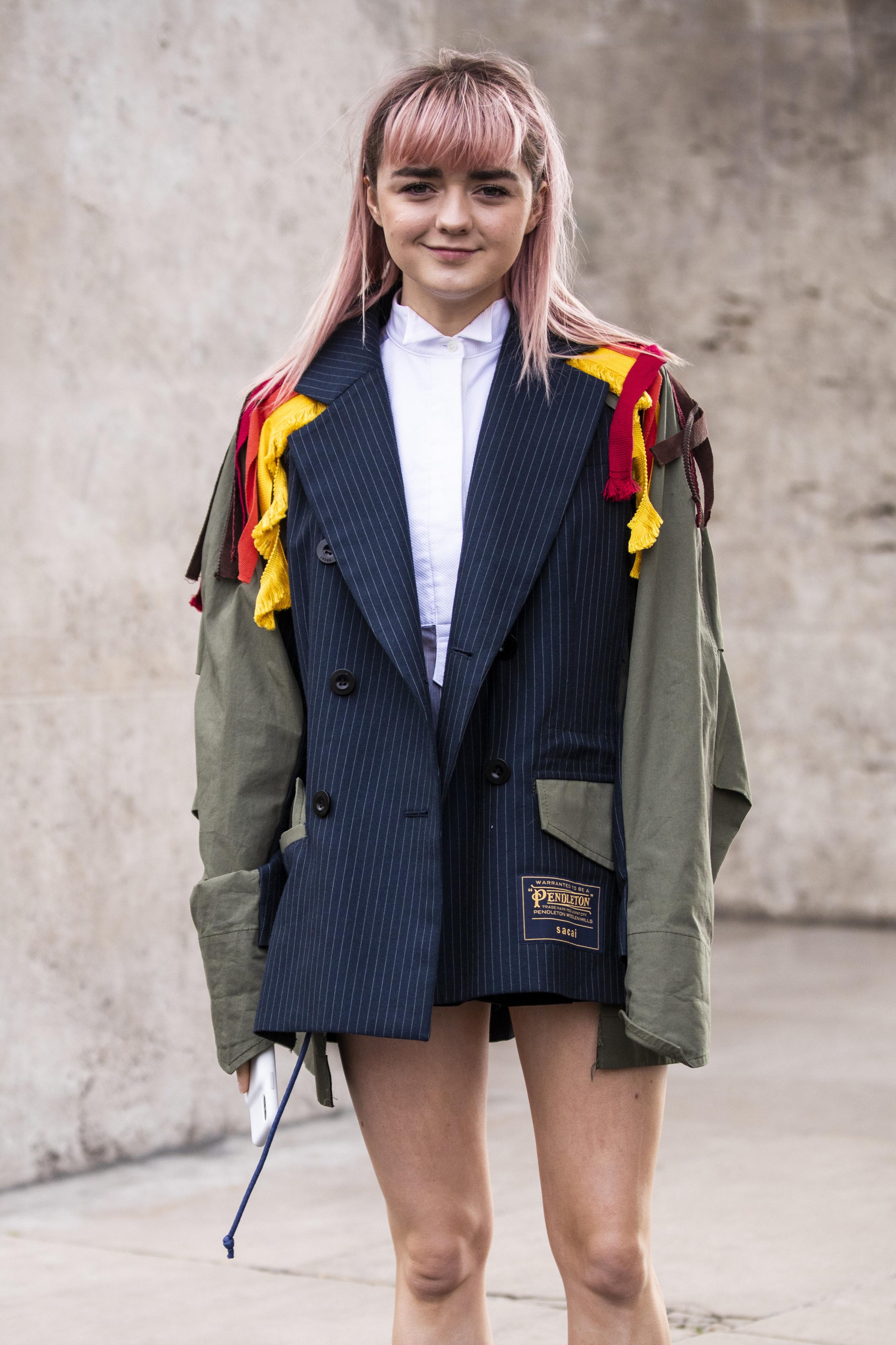 Maisie Williams is seen outside Sacai on Day 8 Paris Fashion Week Autumn/Winter 2019/20 on March 4, 2019