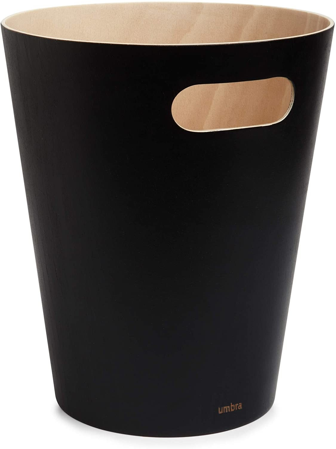 The black Umbra Woodrow 2 Gallon Modern Wooden Trash Can