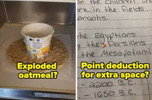 Exploded oatmeal on the left and an assignment with a deducted point for an extra space on the right.