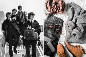 An image of The Beatles departing a plane next to a collection of clothing laid out on a bed
