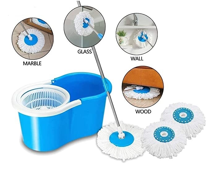 Collage of the mop being used to clean various surfaces like walls, wood, marble, glass.