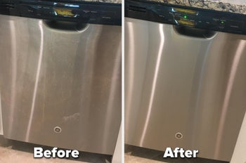 Reviewer's before and after photo of a dirty and now clean dishwasher