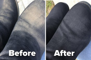 Reviewer's before and after photo of dirty boots and clean boots after using brush