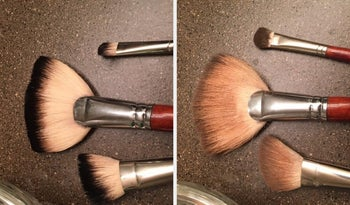 A reviewer's before and after images of their dirty and now clean makeup brushes