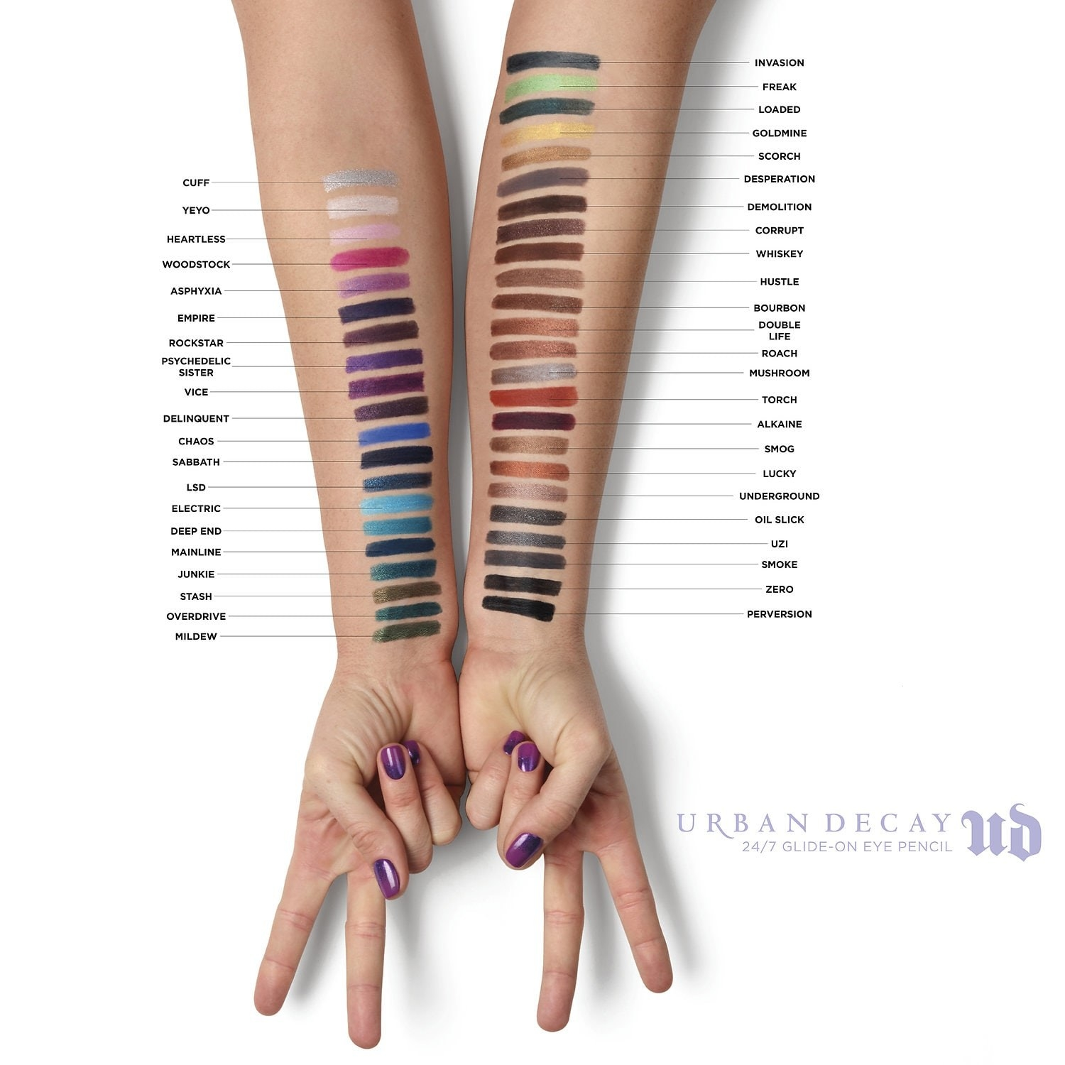 Swatches of the colors on two arms