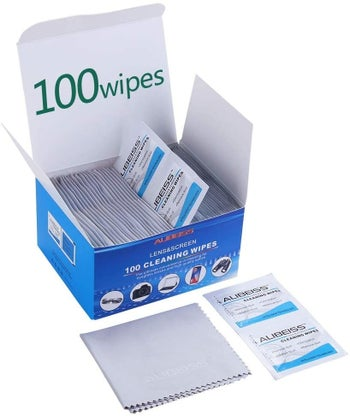 A blue and white box of lens wipes with a light gray wipe cloth