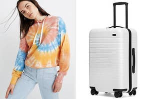 Model in a tie-dye hoodie / a white suitcase
