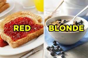 "On the left, a slice of toast with jam labeled ""red,"" and on the right, a bowl of granola topped with blueberries labeled ""blonde"""