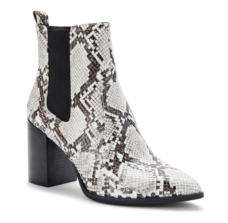 faux snakeskin heeled chelsea boots